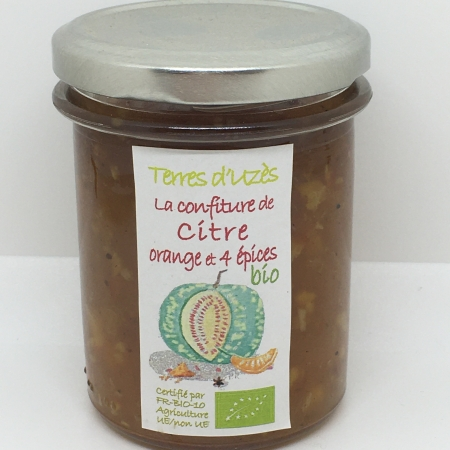 Confiture de Citre, Orange, 4 épices bio 200G